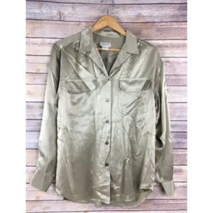 Vtg Banana Republic Safari Travel Silk Shirt Gold